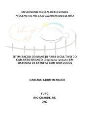 FURG - OTIMIZAÇÃO DO MANEJO PARA O CULTIVO DO vannamei EM BIOFLOCOS.PDF