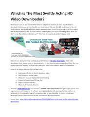 Which is The Most Swiftly Acting HD Video Downloader.pdf